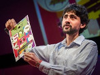Manu Prakash presents the 50-cent microscope during a TED talk