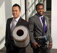 Viet Tran and Seth Robertson with their sound-based fire extinguisher