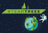 The TeamTrees Logo with the Globe and an Astronaut